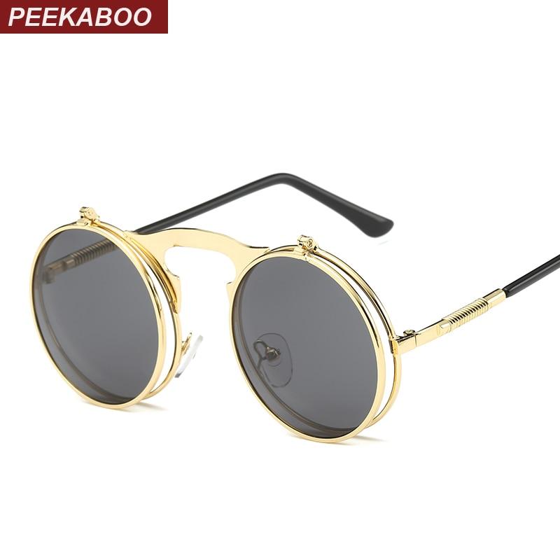 Peekaboo rodada steampunk óculos de sol dos homens dos homens do vintage  pequeno rodada flip up óculos de sol das mulheres de metal retro uv400  prata barato ... 8db4cf9037