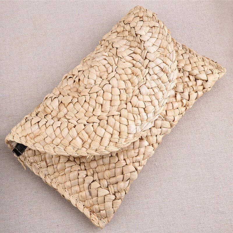 Women Vintage Straw Knitted Clutch Braided Handbag Wallet Beach Messenger Long Purse Bag