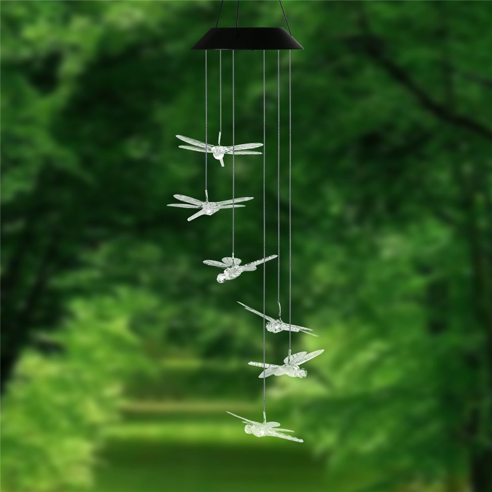 Dragonfly LED Solar Panel Wind Chime Night Light, Color Changing ...