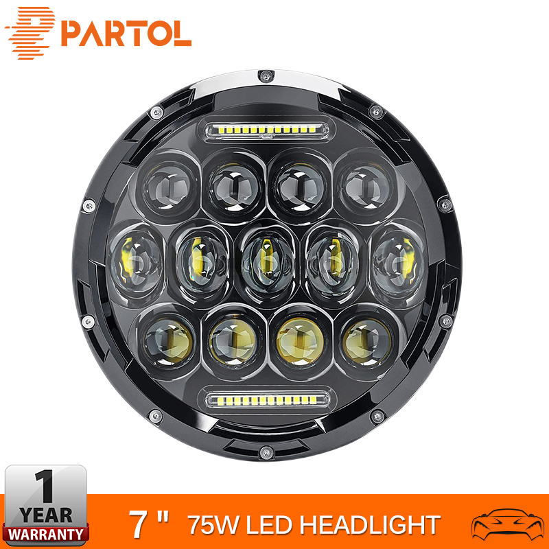 Partol 7 Round LED Headlight Bulb 75W Motorcycle Headlight Projector Car Light For Jeep TJ JK 4 Door Unlimited Land Rover 12v