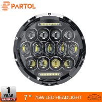 Partol 7 Round LED Headlight Bulb 75W Motorcycle Headlight Projector Car Light For Jeep TJ JK 4 Door Unlimited Land Rover 12v