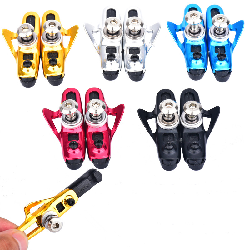 CHOOSE Road Bike Brake Shoes Silence Rubber Aluminum CNC Bicycle V Brake Shoes Bike Brake parts 5 colors in Bicycle Brake from Sports Entertainment