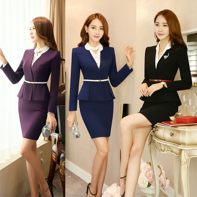 Elegant Purple Formal OL Styles Professional Blazer Suits With Jackets And Skirt For Ladies Office Work Wear Blazer Uniforms Set