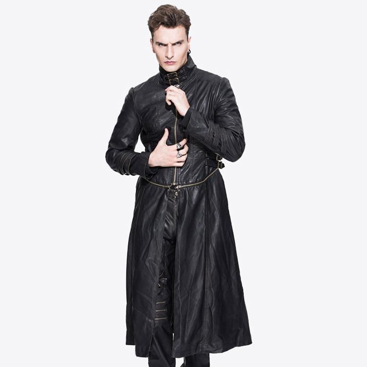 New font b Mens b font Spring Autumn Punk Coat Fashion Long Detachable Hem font b