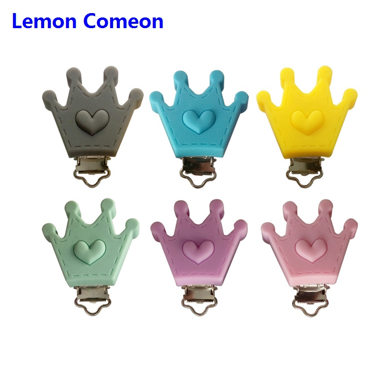 Lemon Comeon 5PC/10PC Crown Love Shaped Baby Teether Clips Teething Chain Holders DIY Silicone Beads Dummy Clip For Baby Teether