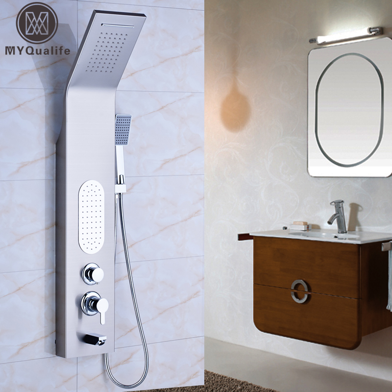 Rain Waterfall Shower Column & Massage Jets Stainless Steel Shower Faucet with Hand Shower Tub Spout Tower Shower Panel