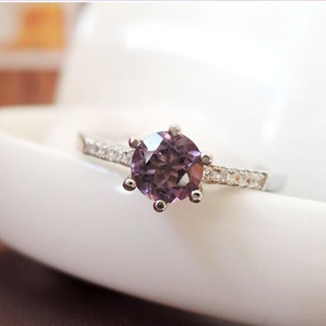 Alta calidad 100% corte redondo brillante natural anillo de amatista 925 joyas de Plata de Ley Maciza brithday regalo para el anillo de mujer