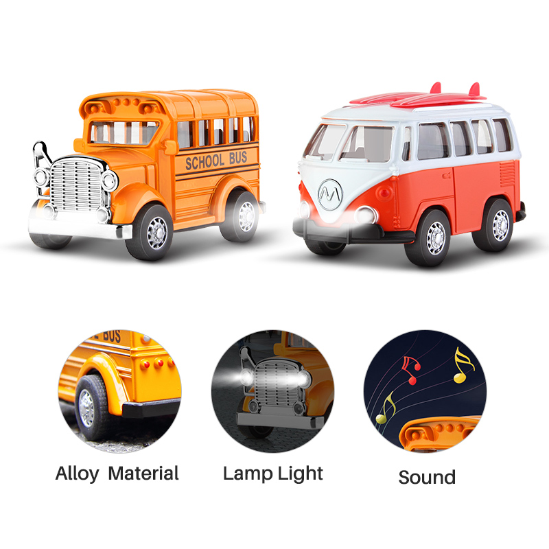 Mini School bus car toy <font><b>diecast</b></font> alloy pull back vehicle light sound action city car model airport express car toys for kids image
