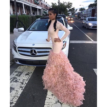 Pink Long Mermaid Prom Dresses 2019 New Long Sleeve Sweep Strain Sequined High Neck Feather Formal Evening Dress Party Gowns