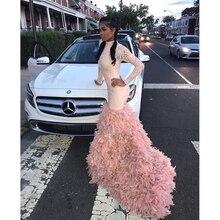 Różowy długi syrenka suknie balowe 2019 nowy z długim rękawem Sweep szczep Sequined wysoka Neck Feather kolacja oficjalna sukienka sukienki na przyjęcie
