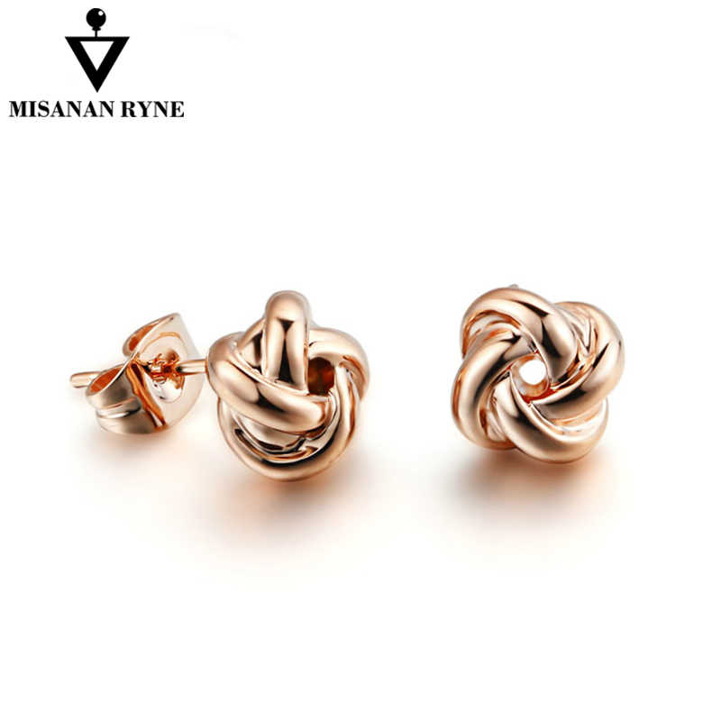 MISANANRYNE Unique Stud Earrings For Women Twist knot Rose Gold & Silver Colors Earrings Jewelry Boucles d'oreilles brincos