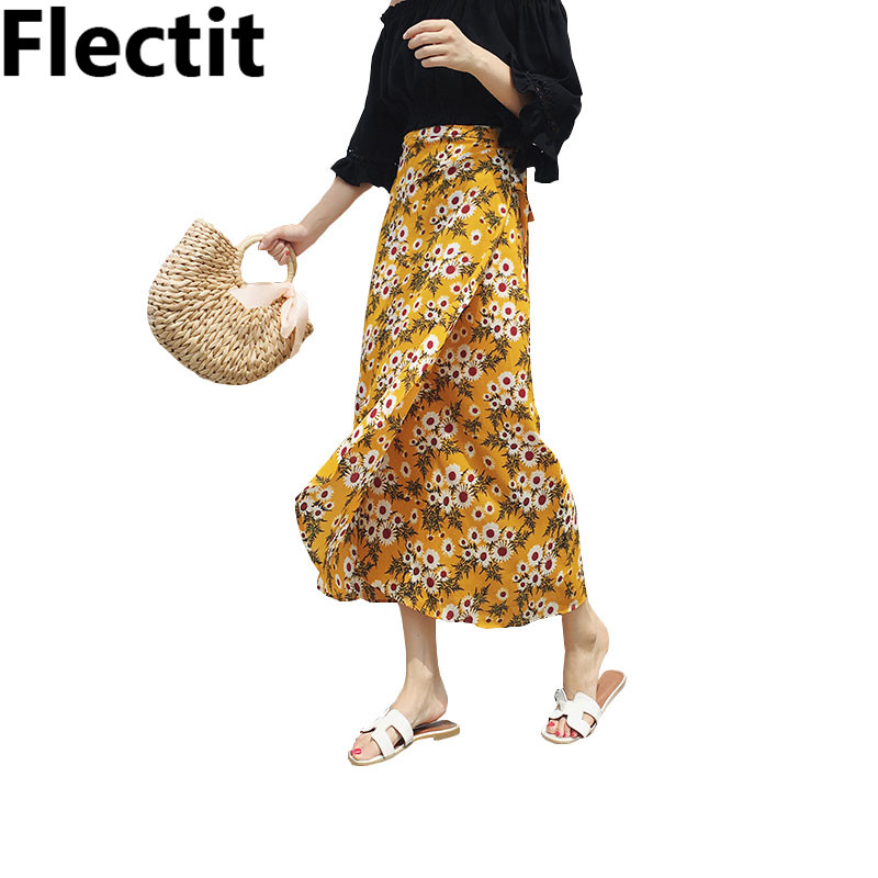 a1d751187b88 Detail Feedback Questions about Asymmetrical Long Skirt with Ties Yellow  Sunflower Floral Print Boho Chic Sexy Split Summer Skirt Womens Skirts Saia  ...