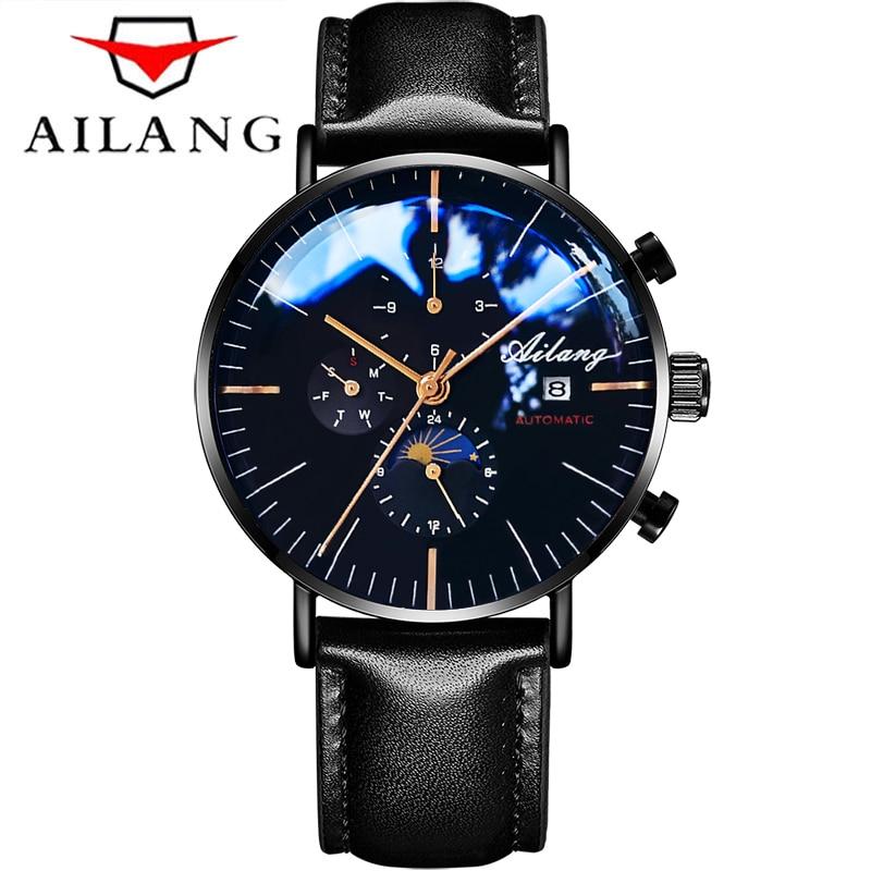AILANG Men Fashion Leather Strap Watch Automatic Business Mechanical Watches Male Luxury Clock Wristwatches Mens Erkek Kol Saati