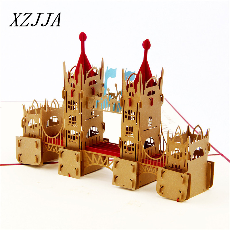 15*20cm NEW 3D London Bridge Origami Postcard Paper Laser Cut Pop Up Handmade Post Cards Festival Birthday Wishes Gift 30pcs in one postcard take a walk on the go dubai arab emirates christmas postcards greeting birthday message cards 10 2x14 2cm