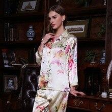 Sexy Real Silk Pajama Female 100% SILK Sleepwear Women Long-Sleeve Pyjama Pants Two-Piece Sets Fashion Printed Nightwear YE0011 lsrtw2017 for trumpchi gs4 leather car trunk mat cargo liner 2012 2013 2014 2015 2016 2017 2018 2019 2020 luggage carpet rug