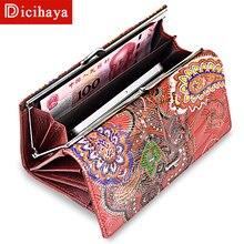 DICIHAYA, женские кожаные кошельки, Длинный кошелек, Воловья кожа, несколько держателей карт, клатч, бумажник с тиснением, большая вместительность, A41-207
