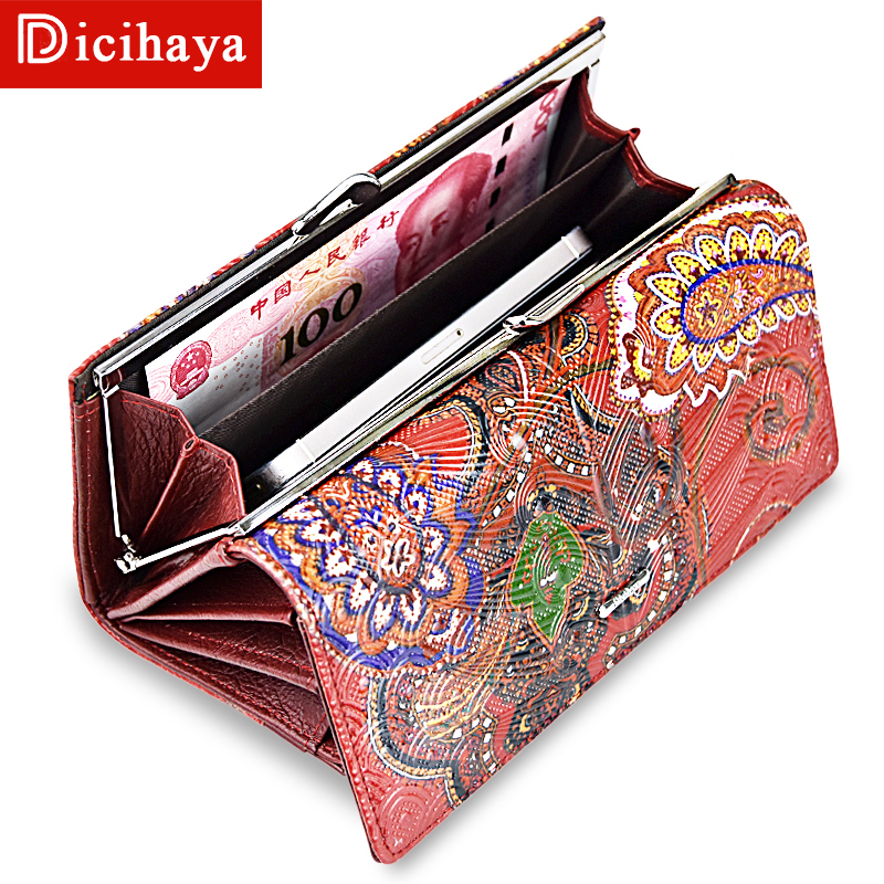 DICIHAYA Women Leather Wallets Long Purse Cowhide Multiple Cards Holder Clutch Bag Embossment Wallet Large Capacity A41-207