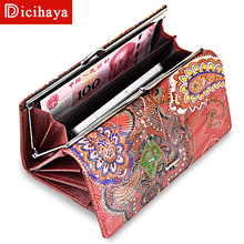 Genuine Leather Women Wallet Long Purse Vintage Solid Cowhide multiple Cards Holder Clutch Fashion Standard Wallet clutch clasp 3157 fashion women wallet leather small crossbody bags girls purse multiple cards holder phone pocket female standard wallets