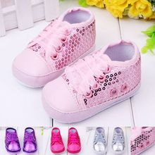 New Fashion Sequined Fancy Baby Girl Shoes Beautiful Riband Children Casual Shoes First Walking Shoes