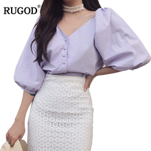 RUGOD 2019 New Arrival Elegant Women Blouse Spring Summer Half Sleeve V neck Female Tops Lantern Lady blusas