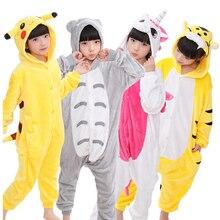 Купить с кэшбэком Animal Children Pajamas Set Flannel Hooded Stitch Unicorn Panda Pajamas Onesies Cosplay Kids Sleepwear For Boys Girls 4-12Year