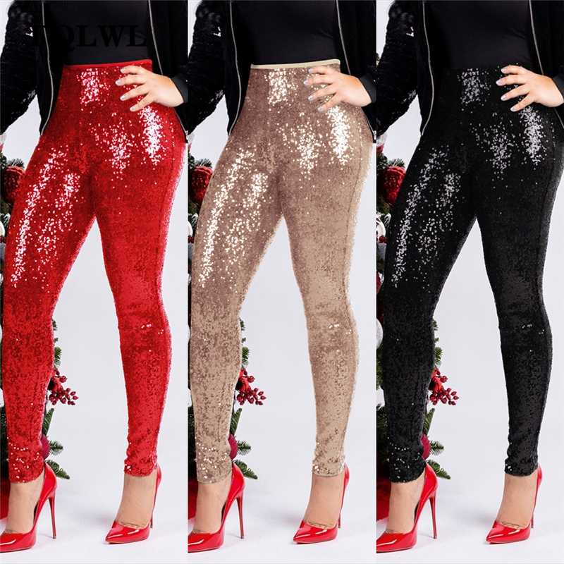 FQLWL Glitter Sequin Sexy Skinny Pants Women Trousers Push Up High Waist Black Pants Female Winter Club Pencil Bodycon Pants
