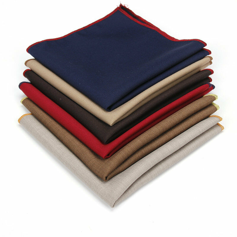 Men Cotton Plain Color Pocket Square Wedding Handkerchief Party Hanky YFTIE0023