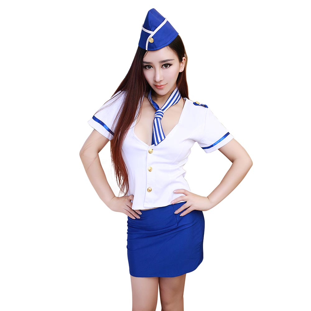 Hot Girl Sexy Air Hostess Uniform Blue and White Outfit Airline Stewardess Roleplay Dressing Up Costume Halloween Fancy Dress