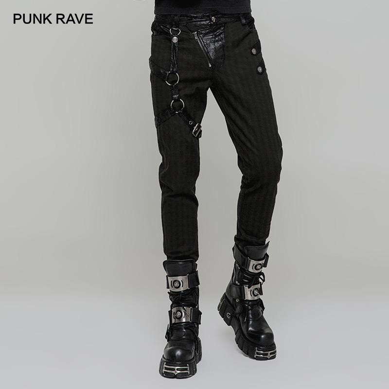 PUNK RAVE Men's Steampunk Faux Leather Colorblock Skinny Trousers Punk Right Leg Loop Can Be Removable Men Pants Hip Hop
