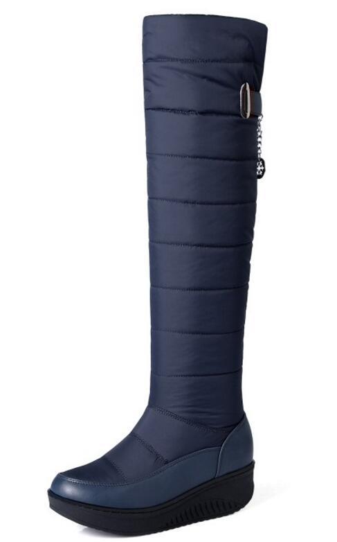 Mi Chaussures Black De Genou Femme Wedge blue Chaussure Neige Le D'hiver Sapato Bottes Feminino Chaussons Sur Slip Vers Talons Femmes Bas Xz181662 Chaud 6F00zqA