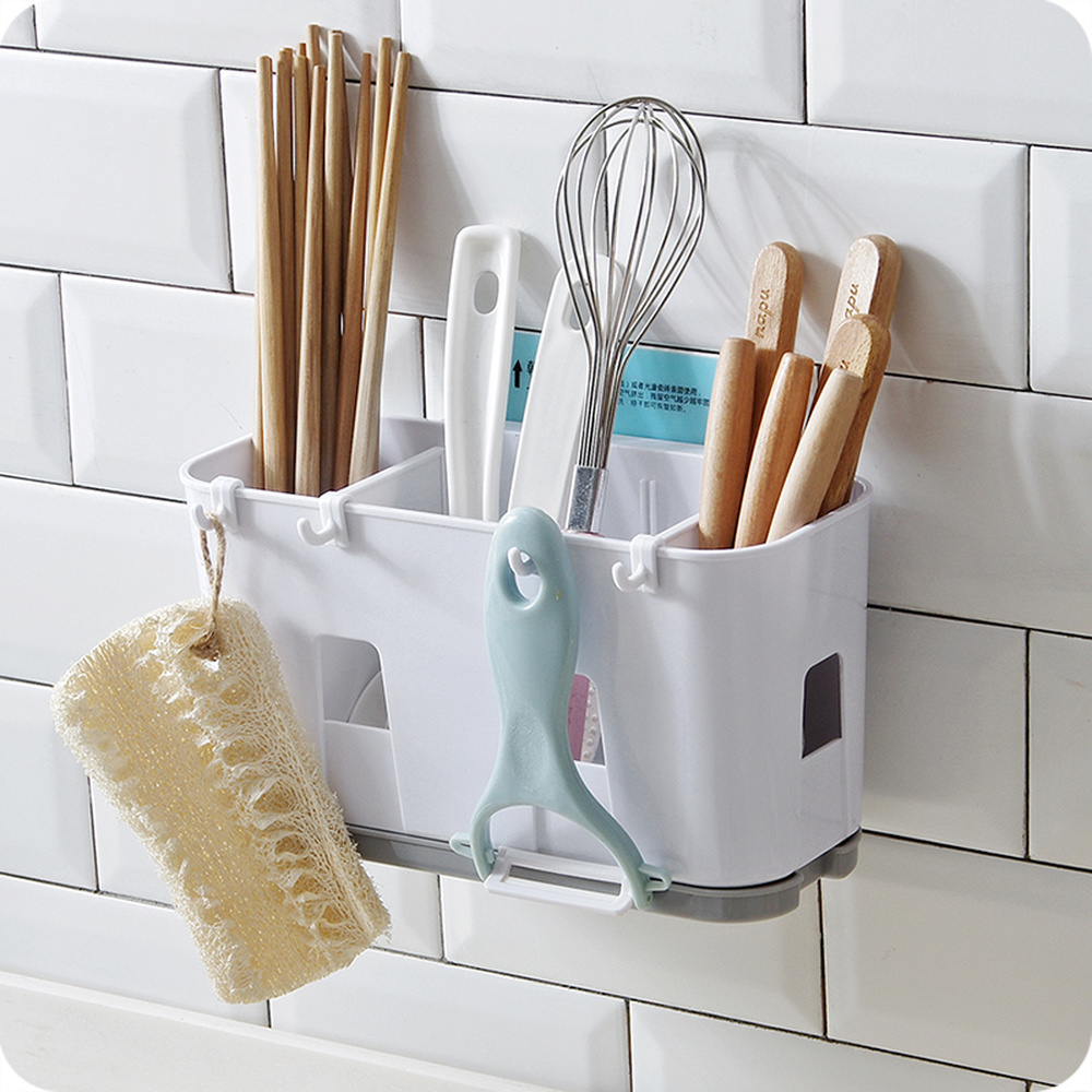 Chopsticks storage rack drain rack kitchen drainage chopsticks wall hanging spoon key holder plastic wx8081140