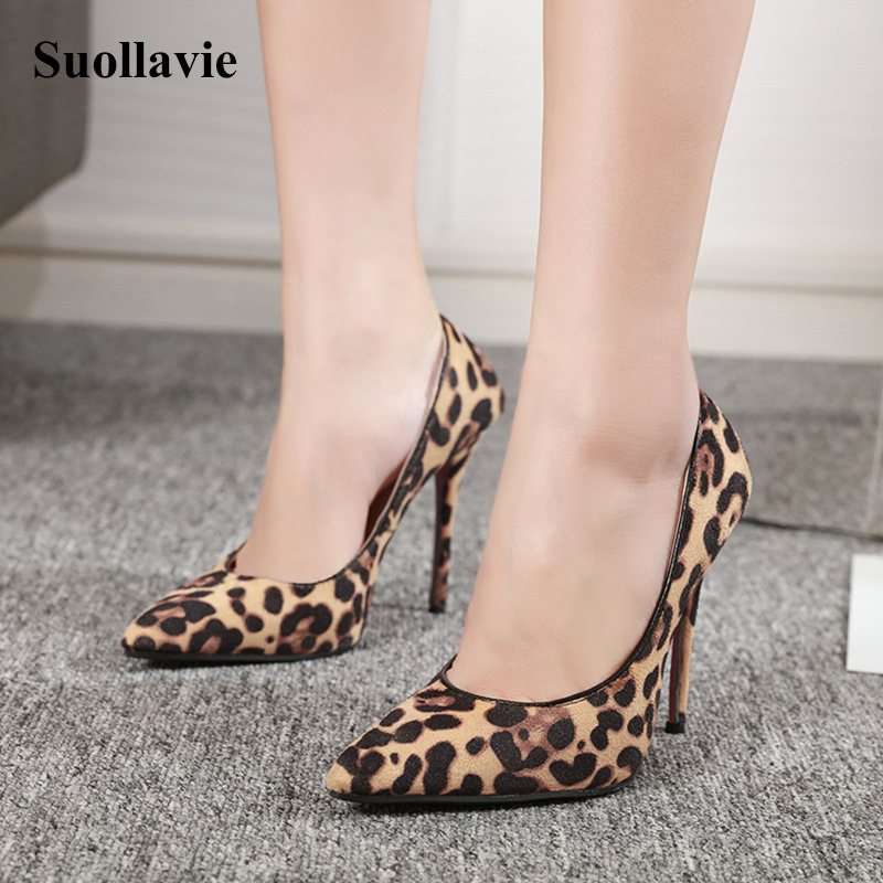 New <font><b>High</b></font> <font><b>Heels</b></font> Leopard Shoes Women Pumps Pointed Toe Flock Thin <font><b>Heels</b></font> <font><b>12</b></font> <font><b>cm</b></font> Sexy Women Shoes Size 35-40 image