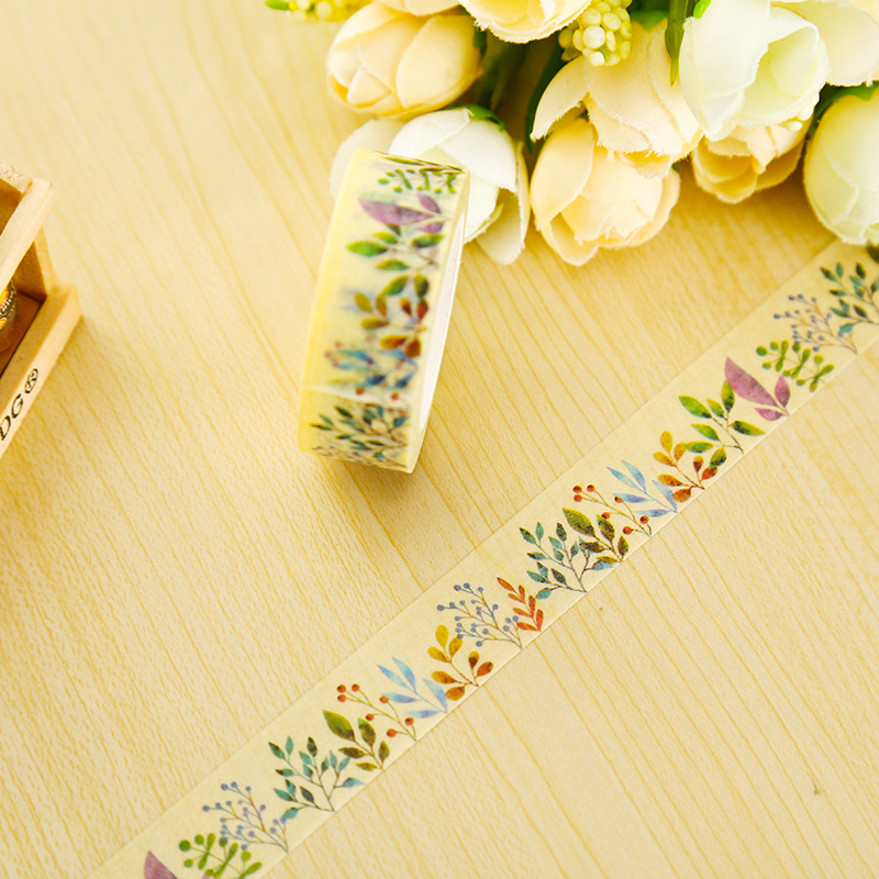 1 X 1.5cm*10m Herbaceous Plant Washi Tape DIY Decoration Scrapbooking Planner Masking Tape Adhesive Tape Kawaii Stationery