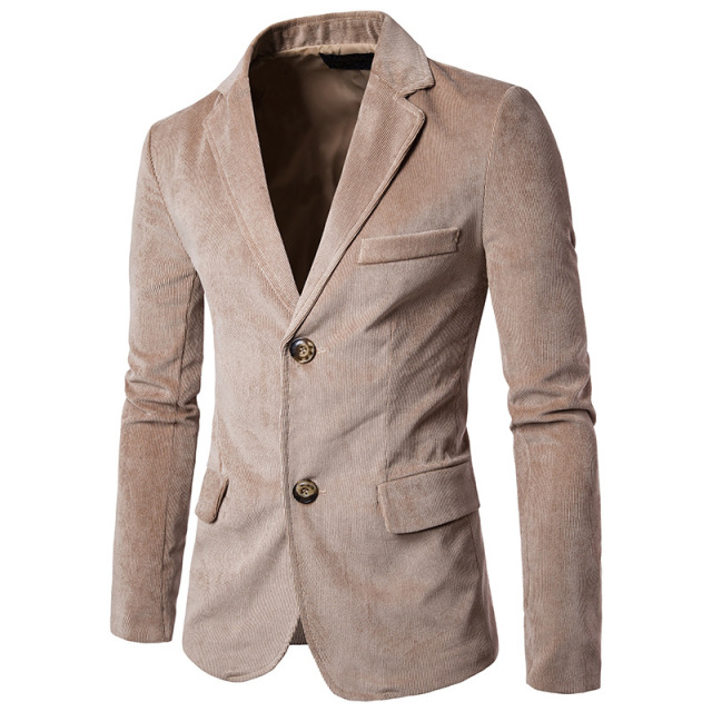 Men Corduroy Suit Blazer Pattern 40 Korea Slim Fit Fashion New Best Mens Blazer Pattern