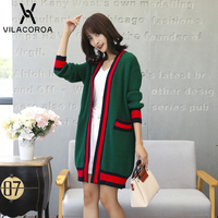 New Women Jacket Coat Autumn Winter Long Sleeve Contrast Striped Cardigan Knitted Casual Loose Pocket Jacket manteau femme hiver