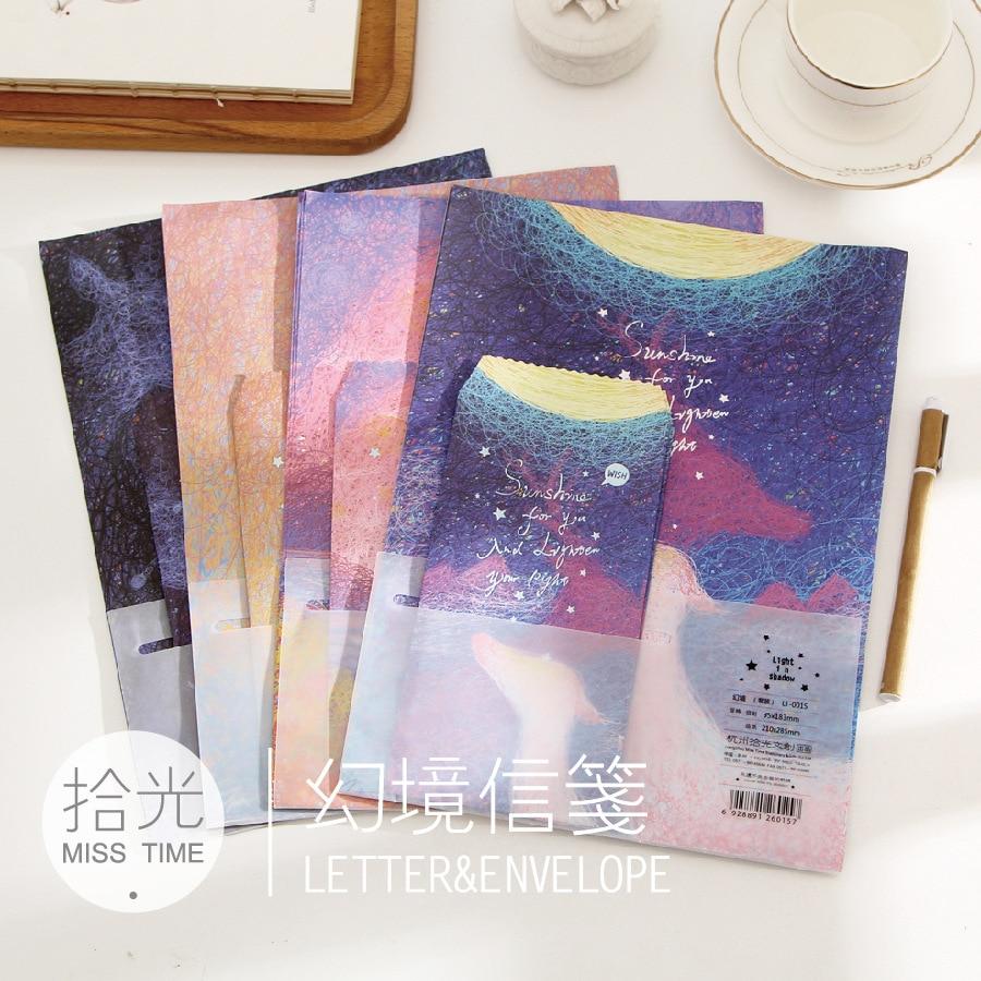 9pcs/Set 3 Envelopes + 6 Writting Paper Creative Luminous Fairyland Series Envelope For Gift Korean Stationery