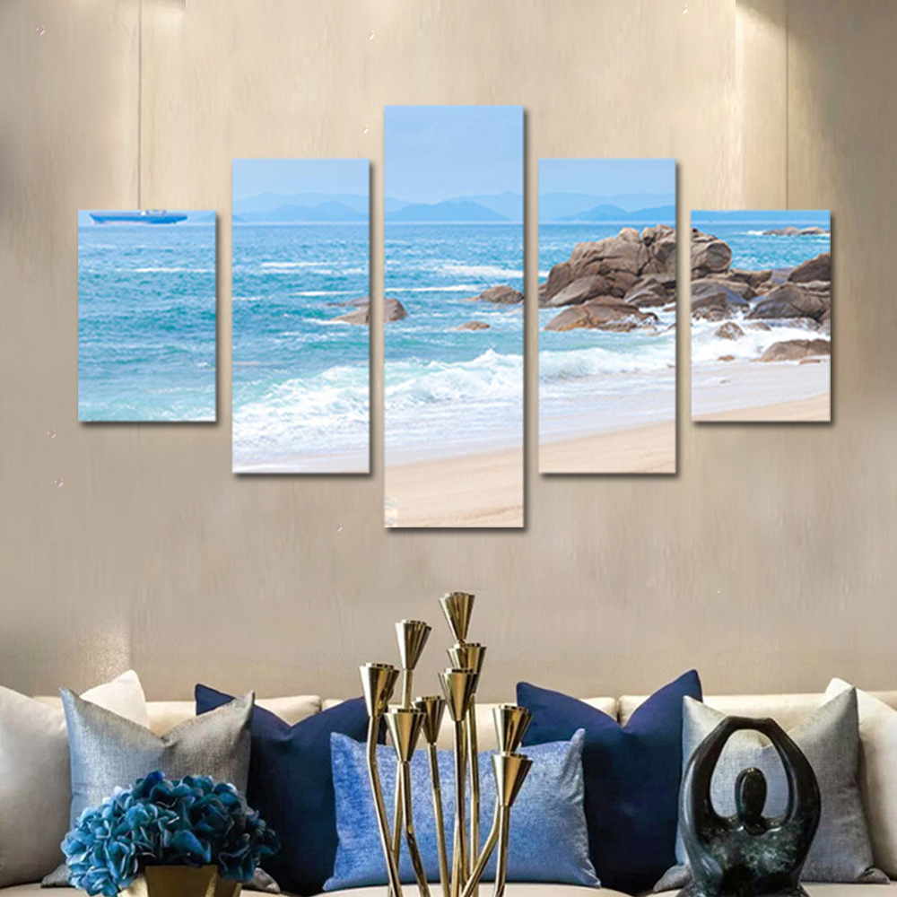 Unframed Canvas Painting Clouds Beach Reef Spray Photo Picture Prints Wall Picture For Living Room Wall Art Decoration