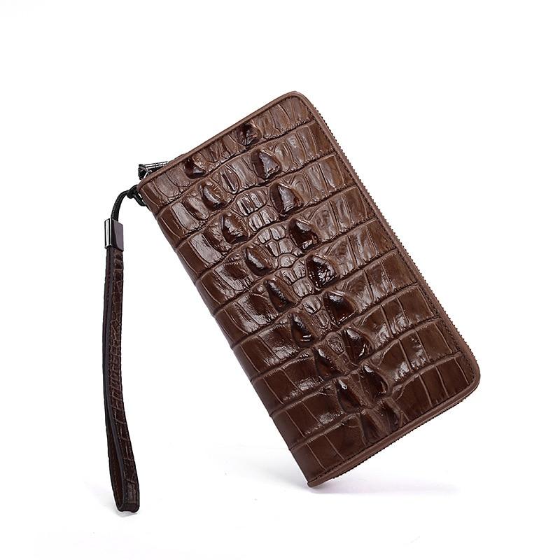 Crocodile grain  leather men's wallet Men's Hand bag purse High quality phone package women wallet long zipper wallet high capacity crocodile grain female card package fashion hand bag change purse