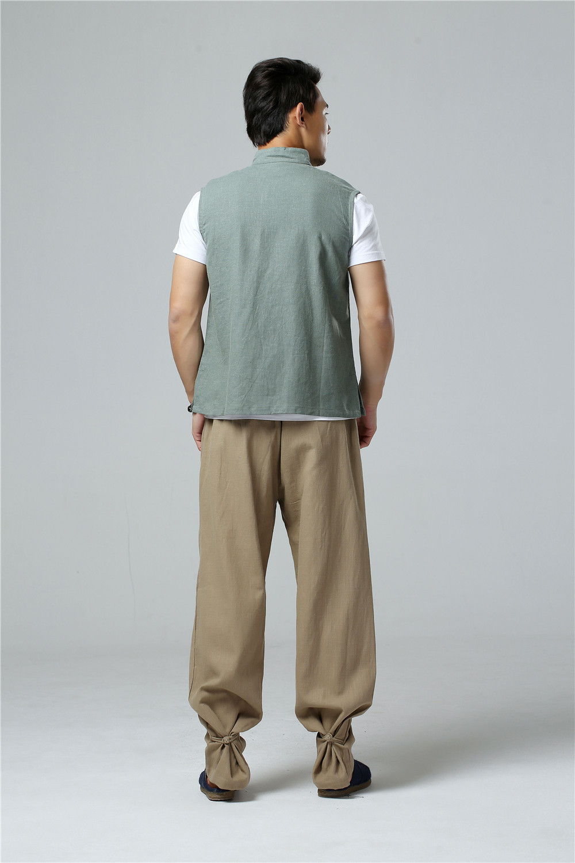 LZJN 2019 Men's Summer Waistcoat Chinese Style Vintage Breathable Linen Button Down Kung Fu Shirt Sleeveless Vest Jacket  (31)