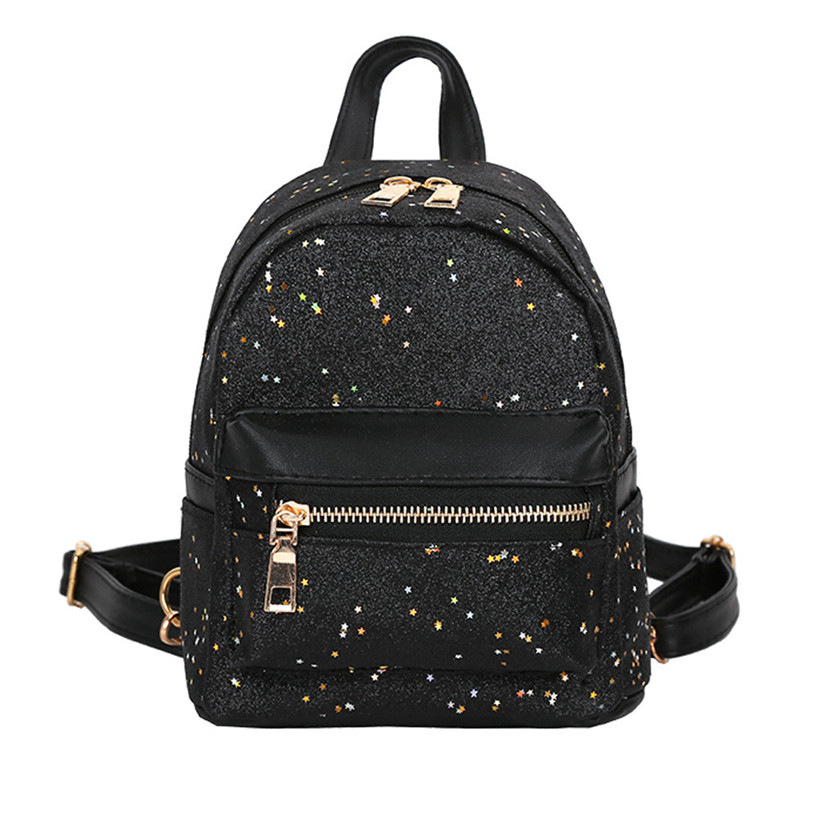 178bec02d96f Shining Sequins Women Cute Small Backpacks PU Leather School Bags Girls  Princess Shoulder Bag 2019 New