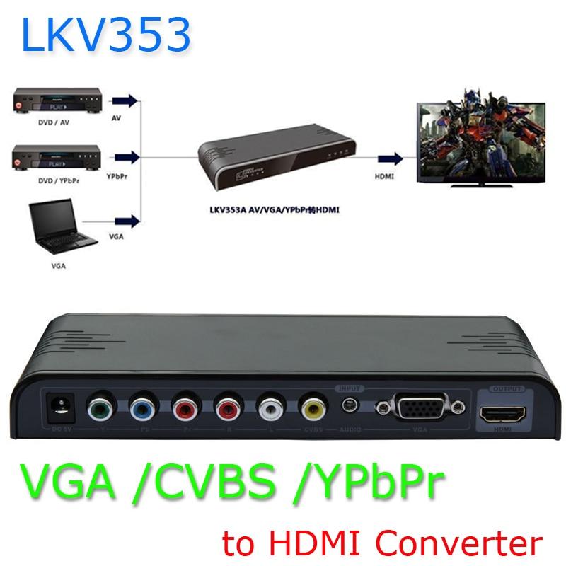 New VGA/ YPbPr Component/Composite RCA CVBS+Audio to 1080P HDMI Converter Scaler Brand Lenkeng vga component with audio to hdmi 1080p converter with scaler