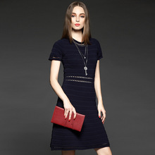 Charm Women Dress Office Business Work Bodycon Pencil Career Elegant Short Sleeve Hollow Out A-line O-neck Acetate Sweater Dress