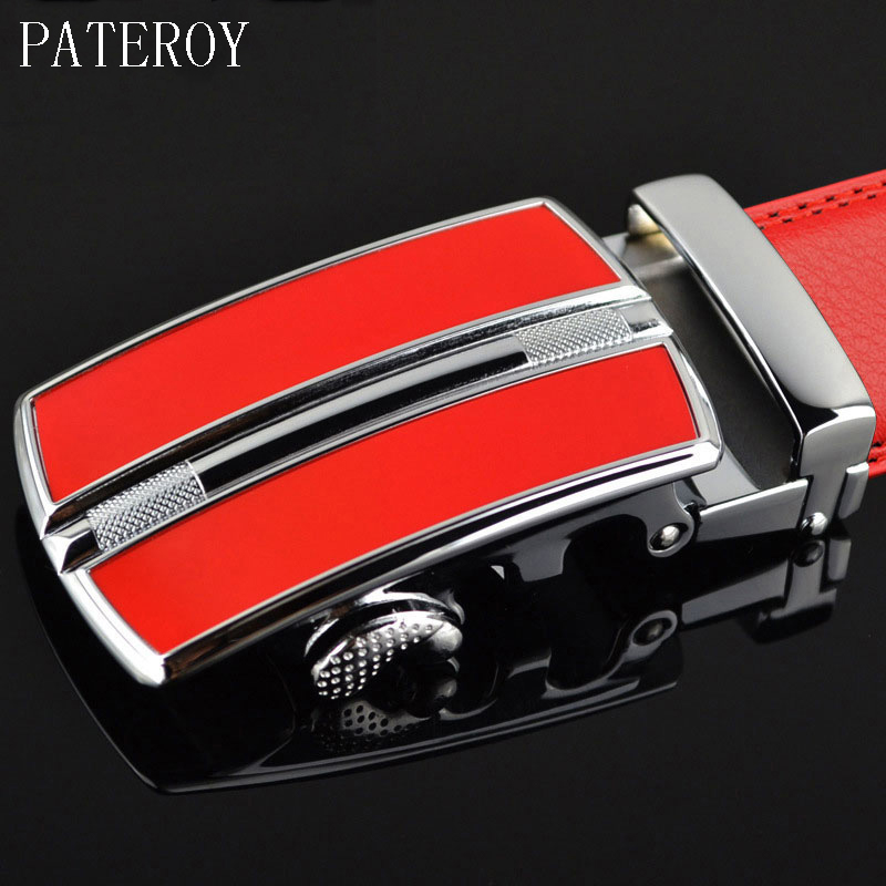 PATEROY Leather   Belt   Men Designer   Belts   Men High Quality Red automatic Buckle Cinto Cinturones Hombre Ceinture Homme Mens   Belts