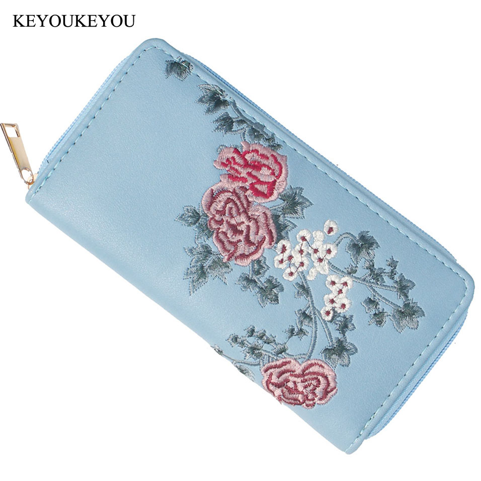 Wallet for Credit Cards Blue Vintage Floral Embroidered Flower Peony Embroidery Female Women Purse Ladies Clutch Wallet For Girl 3d laser cut pop up greeting cards happy birthday postcards vintage chic retro peacock thank you gift message cards for girl