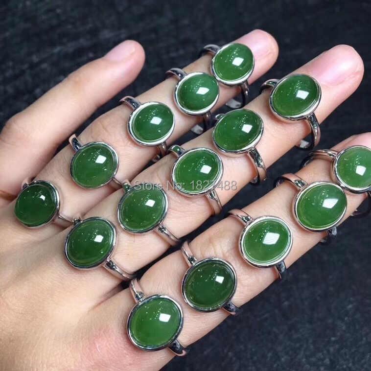 คุณภาพสูง Choice * จริง S925 Silver Inlay หยกสีเขียวอัญมณีแฟชั่นผู้หญิงแหวนเครื่องประดับ * ฟรีกล่อง