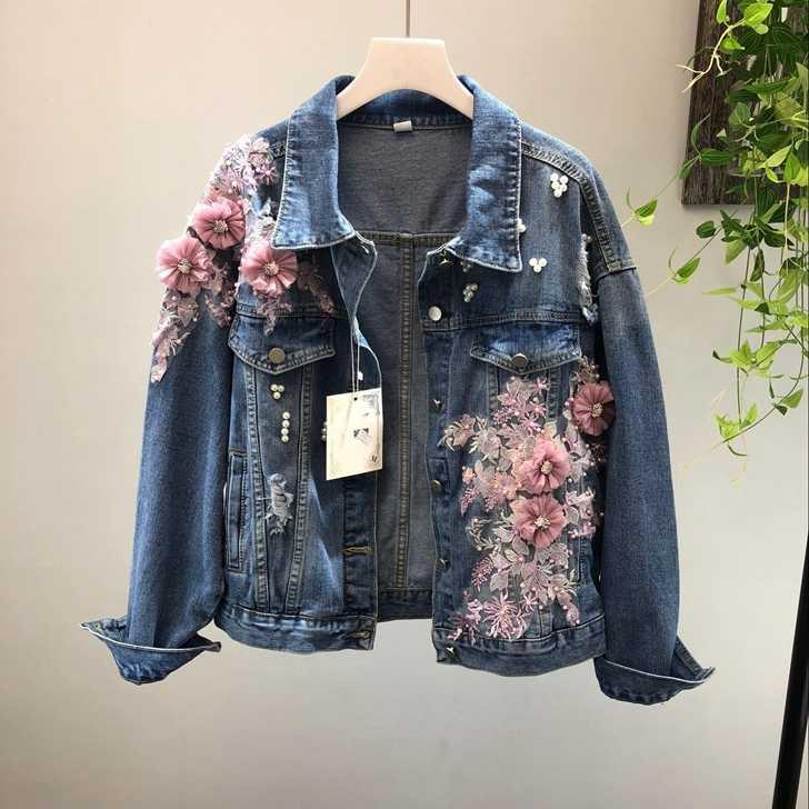 745e9c12 2018 весна осень джинсовая куртка пальто женщина новый тяжелый стерео  розовый цветок вышитые рваные джинсовые куртки