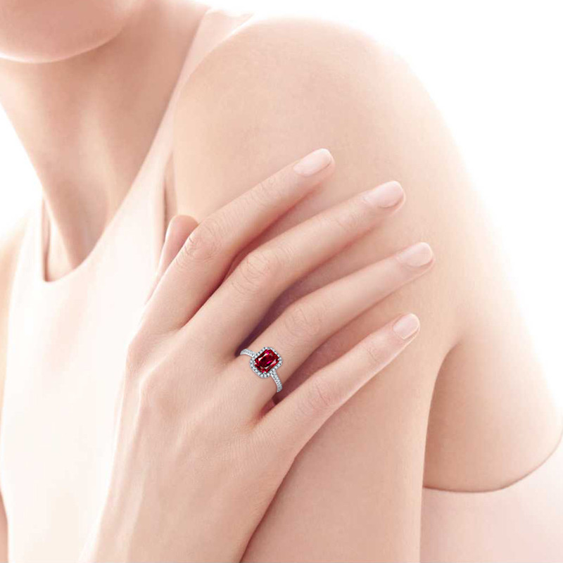 Hot Sale 3.6ct Pigeon Blood Red Ruby Engagement Bröllop Ring Pure - Fina smycken - Foto 6