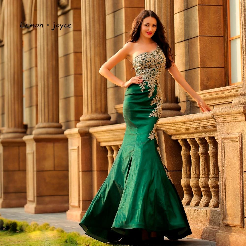 Lemon joyce Formal Evening Dresses Long 2019 One Shoulder Sexy Prom Gowns Evening Mermaid Dress Plus