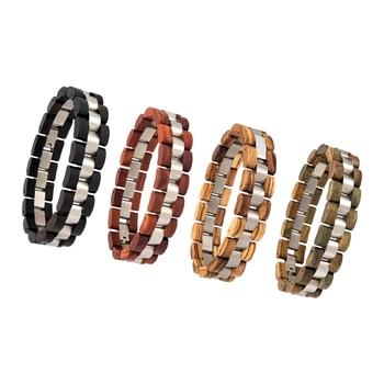 Bracelet Set of 4 PCS Wood Bracelet for Men Women Bead Bangles Lovers Armband pulsera hombre