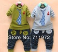 O envio gratuito de 1 conjunto, Primavera / outono versão coreana do bonito falso tie pedaço de algodão fino meninos terno de mangas compridas